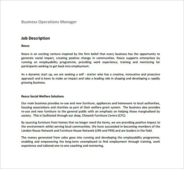 9+ Operations Manager Job Description Templates Free  Premium