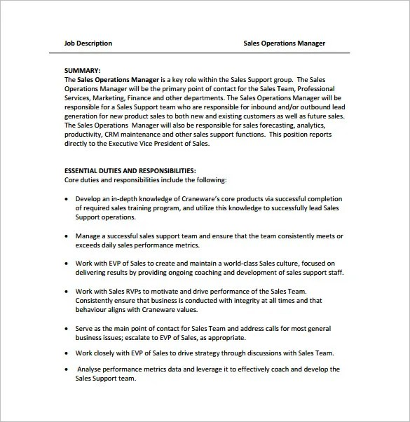 Operations Manager Job Description Template - 9+ Free Word, PDF - business manager job description