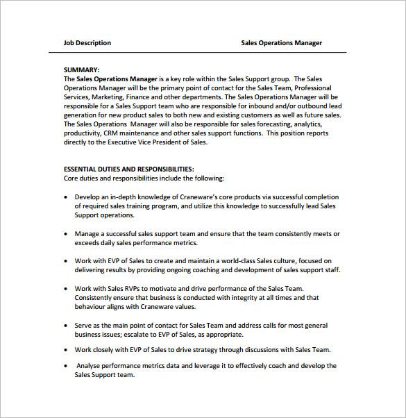 8+ Operations Manager Job Description Templates Free  Premium - it operation manager job description
