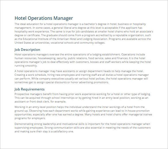 9+ Operations Manager Job Description Templates Free  Premium