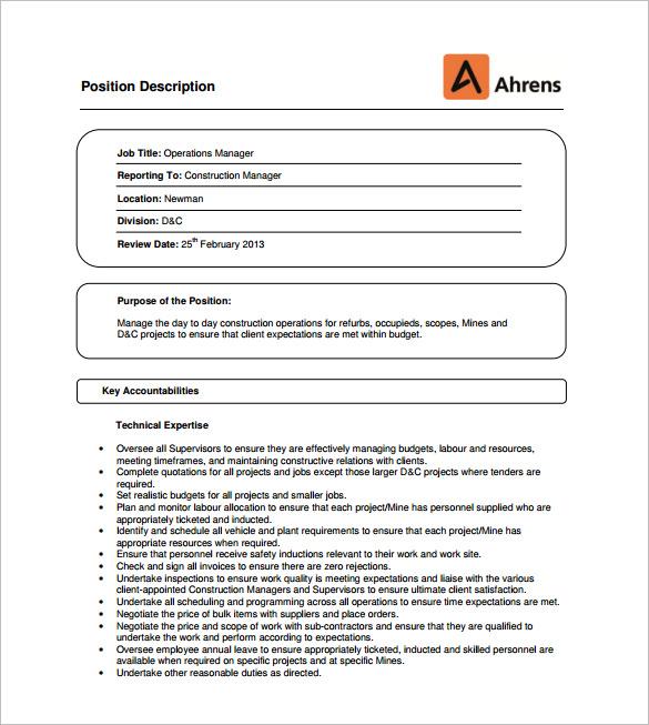 10+ Operation Manager Job Description Templates \u2013 Free Sample