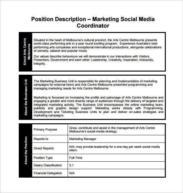 Marketing Coordinator Job Description Template - 13+ Free Word, PDF