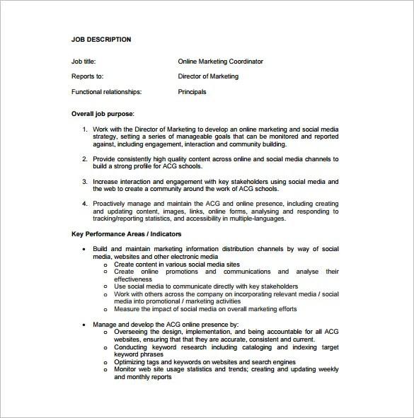 Marketing Coordinator Job Description Template - 13+ Free Word, PDF
