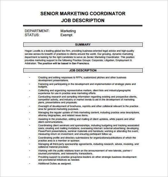 12+ Marketing Coordinator Job Description Templates - Free Sample
