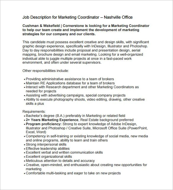 marketing coordinator job description - Ozilalmanoof
