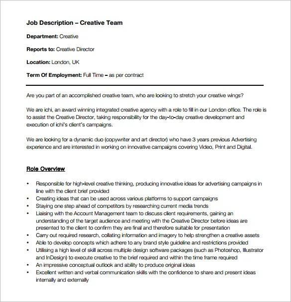 Creative Director Job Description Template - 8+ Free Word, PDF