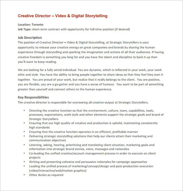 7+ Creative Director Job Description Templates Free  Premium - it director job description