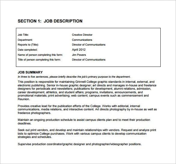 9+ Creative Director Job Description Templates - Word, Docs, Pages