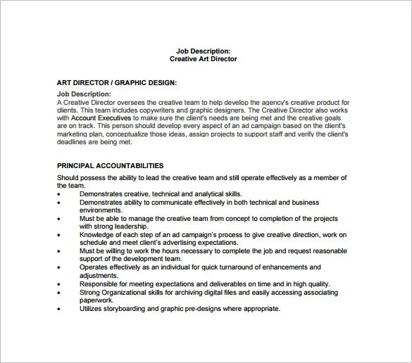 Job Description Executive Creative Director  Example Of Resume