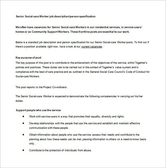7+ Social Worker Job Description Templates Free  Premium Templates