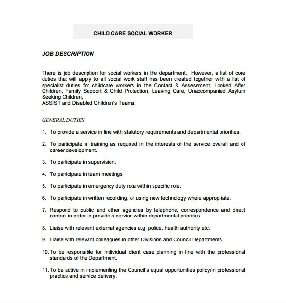 Job Description For Social Worker In Hospital  Sample Cv Teaching Job