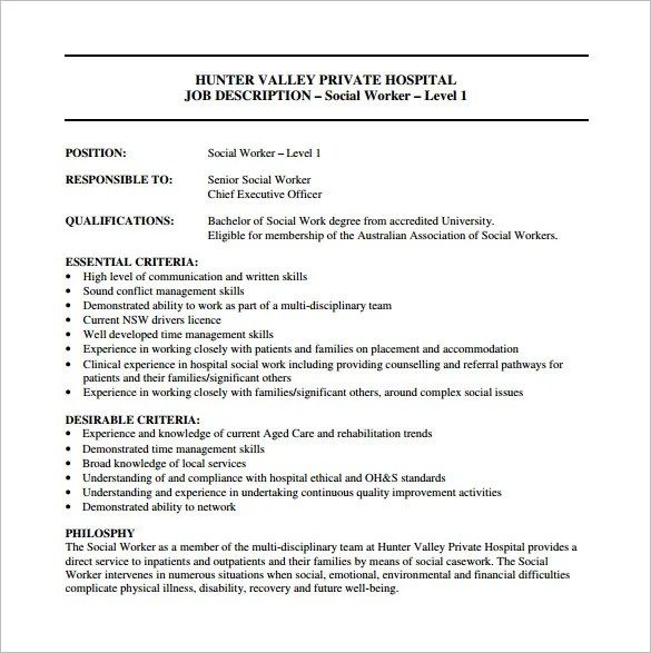 Job Description Of A Social Worker In A School  Cv Layout Sample