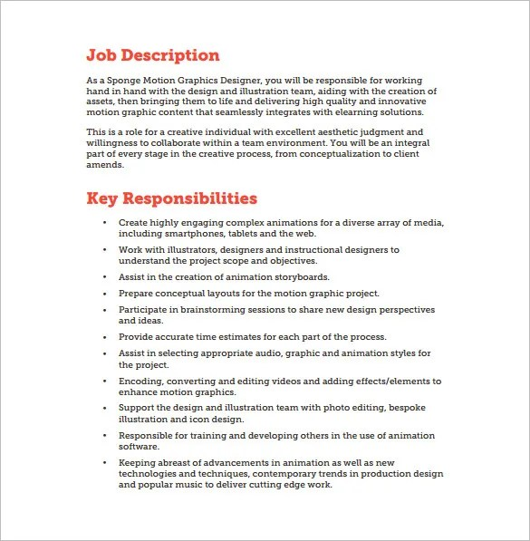 Graphic Designer Job Description Template - 10+ Free Word, PDF