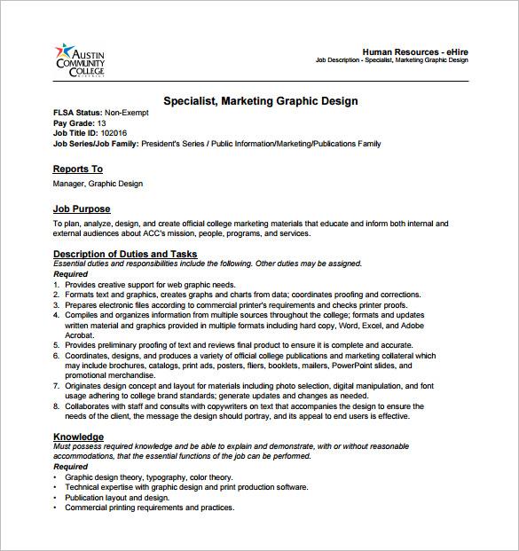 job qualification sample – Graphic Design Job Description