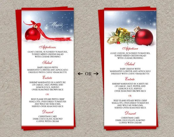 Christmas Menu Template 16 Free Psd Eps Ai