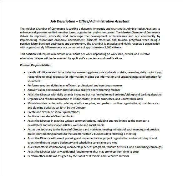 9+ Office Assistant Job Description Templates - PDF, DOC Free