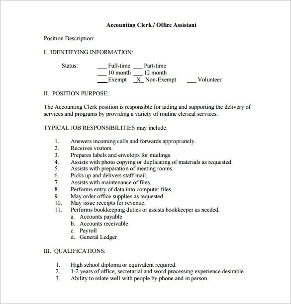 11+ Office Assistant Job Description Templates \u2013 Free, Sample