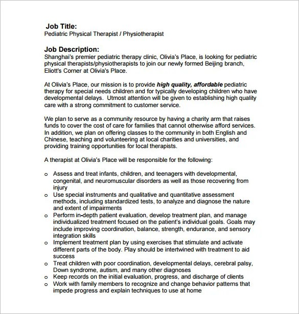 Physical Therapist Job Description Template - 9+ Free Word, PDF - physical therapist job description