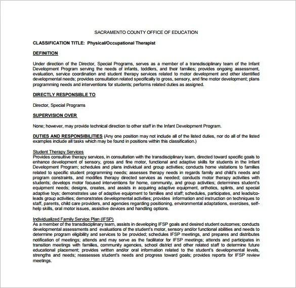 Occupational Therapist Job Description Pediatric-Occupational - technical director job description