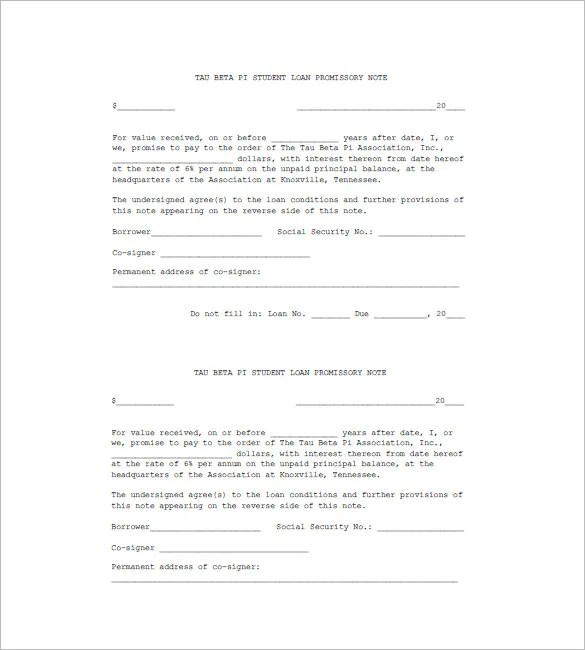 7+ Student Loan Promissory Note Templates - Free Sample, Example