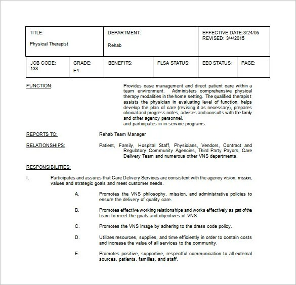 9+ Physical Therapist Job Description Templates \u2013 Free Sample - physical therapist job description