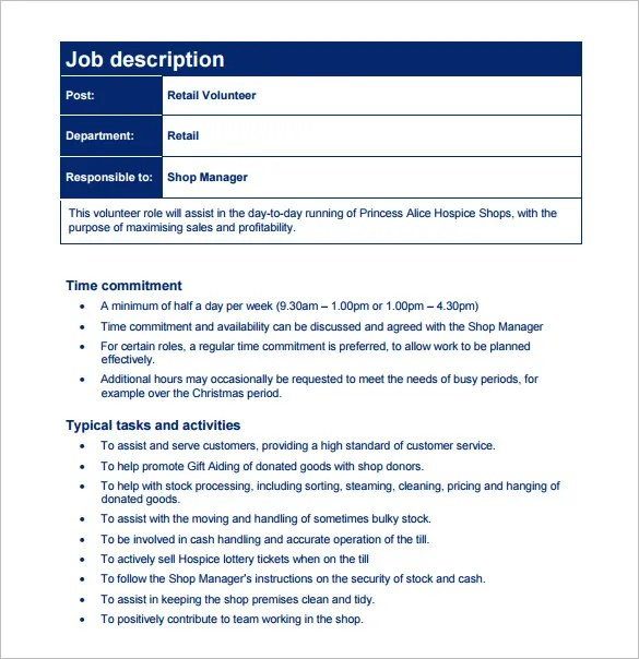 job responsibilities template - Funfpandroid - job description template word
