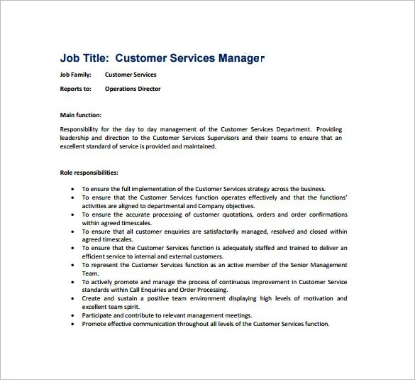 customer service job description for resume hitecauto - customer service manager job description