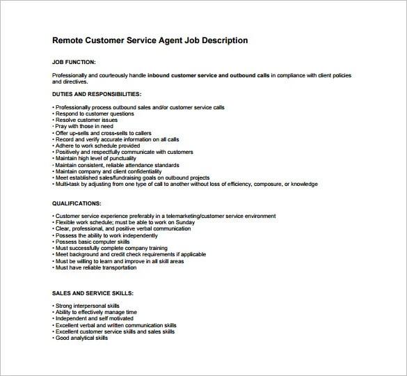 ... Customer Service Job Description Templates   12+ Free Sample   Telemarketing  Job Description ...