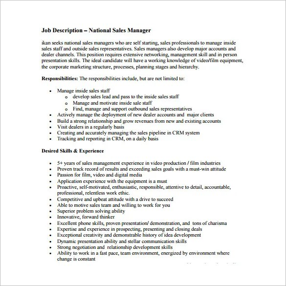 Sales Manager Job Description Template - 11+ Free Word, PDF Format - sales job description