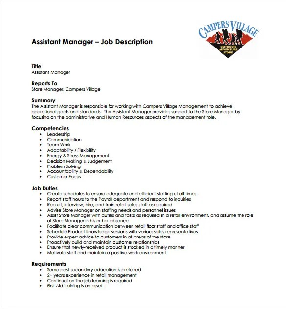 9+ Assistant Manager Job Description Templates Free  Premium