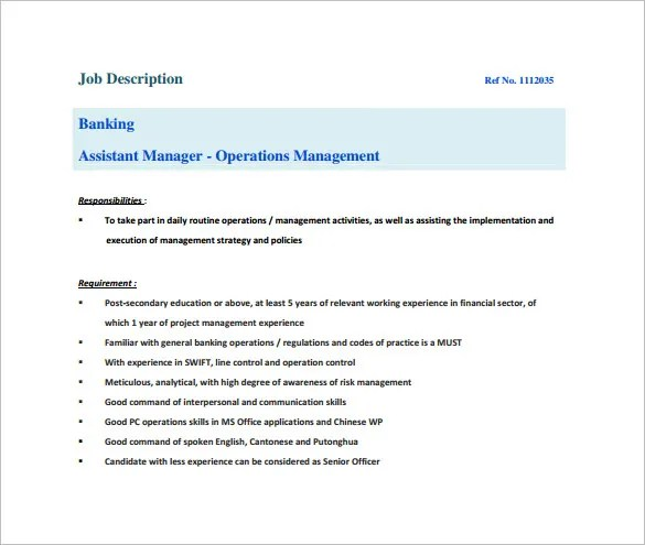 Assistant Manager Job Description Template - 9+ Free Word, PDF