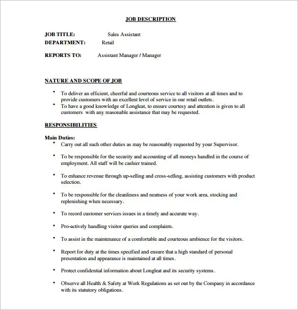 10+ Assistant Manager Job Description Templates \u2013 Free Sample