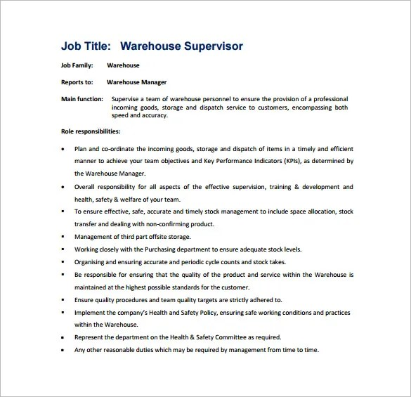 11+ Supervisor Job Description Templates - Google Docs, Word Free