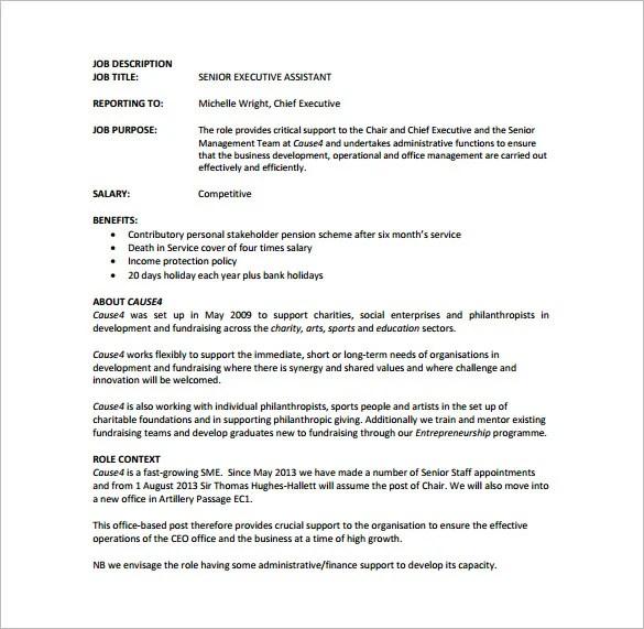 7+ Executive Assistant Job Description Templates Free  Premium