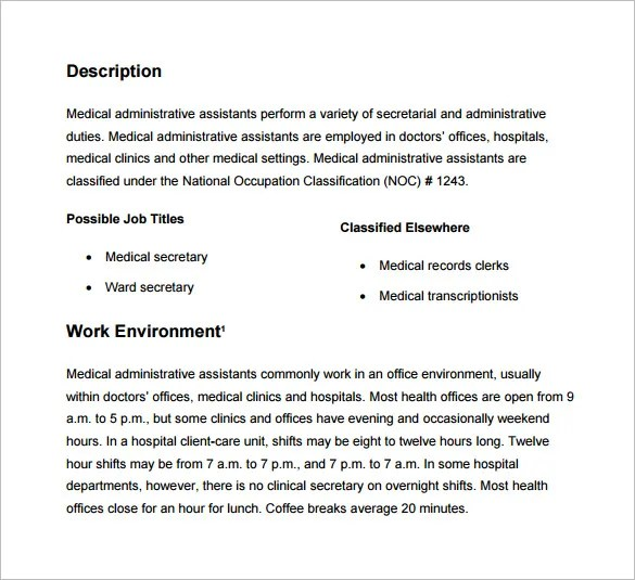 Medical Office Assistant Job Description  Template