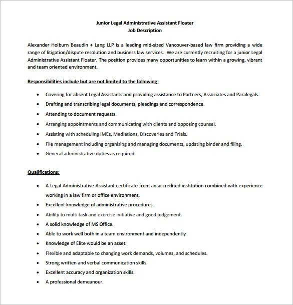 Administrative Assistant Job Description Template - 9+ Free Word