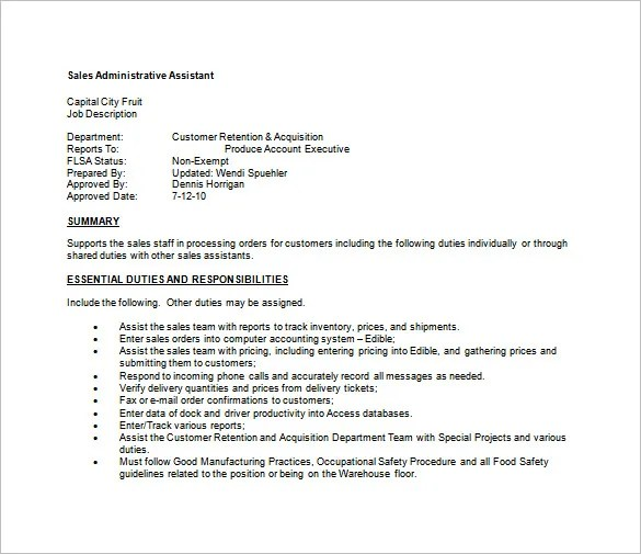 Administrative Assistant Job Description Template \u2013 9+ Free Word