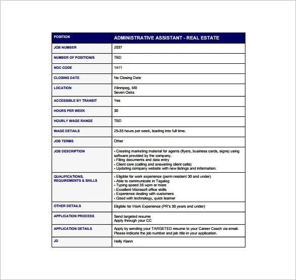 12+ Administrative Assistant Job Description Templates \u2013 Free Sample - real estate administrative assistant sample resume