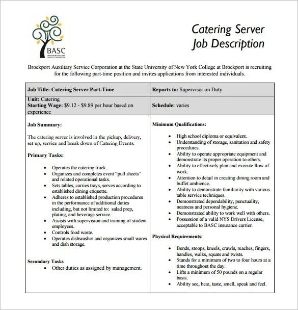 10+ Server Job Description Templates - Free Sample, Example, Format