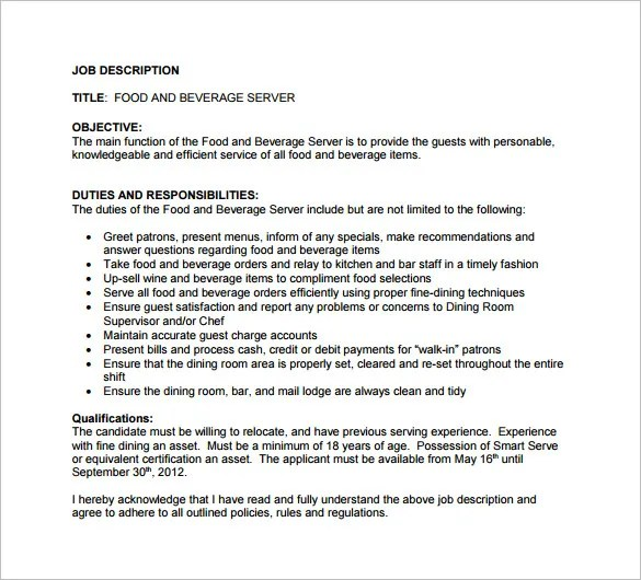 11+ Server Job Description Templates \u2013 Free Sample, Example, Format - beverage server sample resume