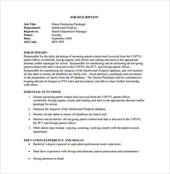 paralegal job description for resume | nfgaccountability.com