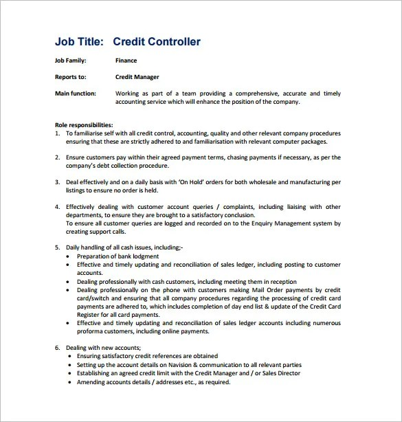Controller Job Description Template \u2013 11+ Free Word, PDF Format - Stock Job Description