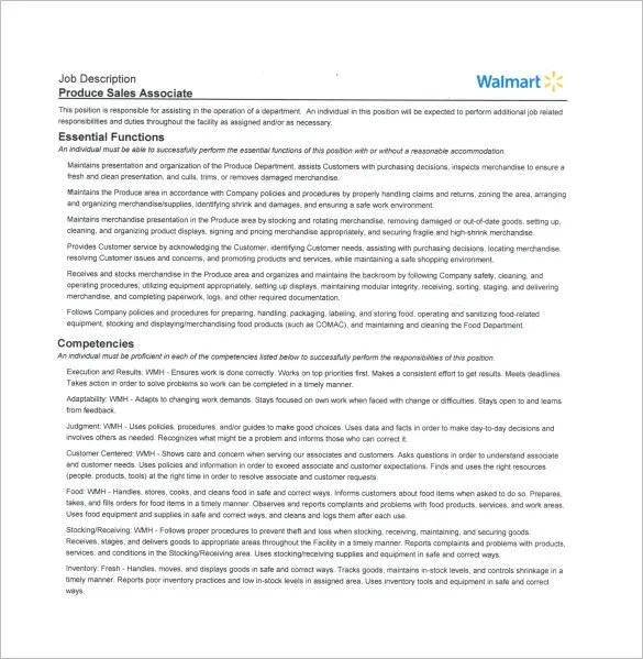 Sales Associate Job Description Template \u2013 8+ Free Word, PDF Format