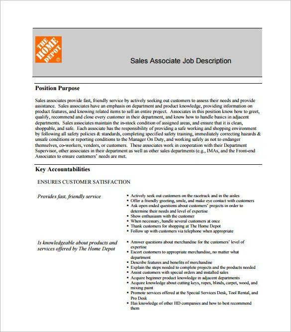resume examples for home depot