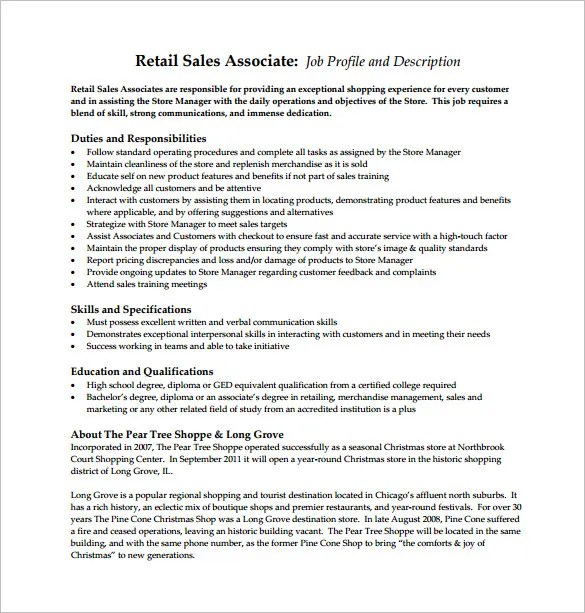 retail sales associate job description - Maggilocustdesign - sales job description