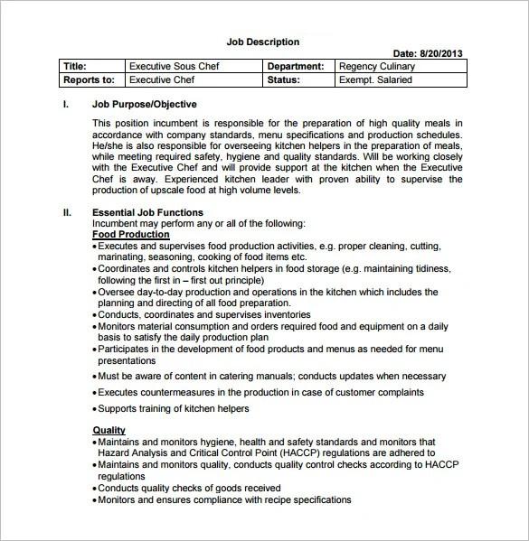Sous Chef Job Description Template \u2013 8+ Free Word, PDF Format - executive chef job description