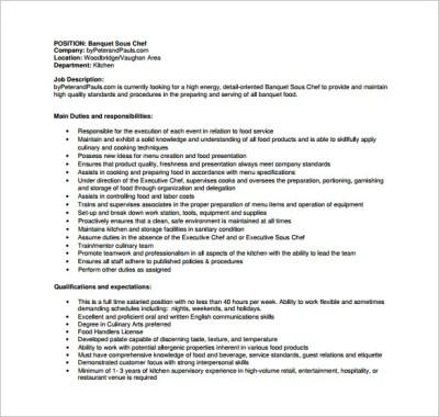 Sous Chef Job Description Template – 8+ Free Word, PDF Format Download!   Free & Premium Templates