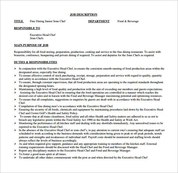 9+ Sous Chef Job Description Templates \u2013 Free Sample, Example - executive chef job description