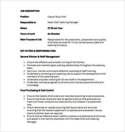 9+ Sous Chef Job Description Templates – Free Sample, Example, Format Download!   Free & Premium ...