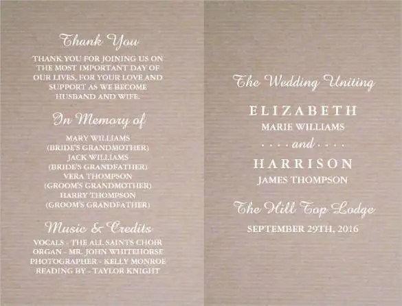Wedding Program Template - 64+ Free Word, PDF, PSD Documents - wedding program